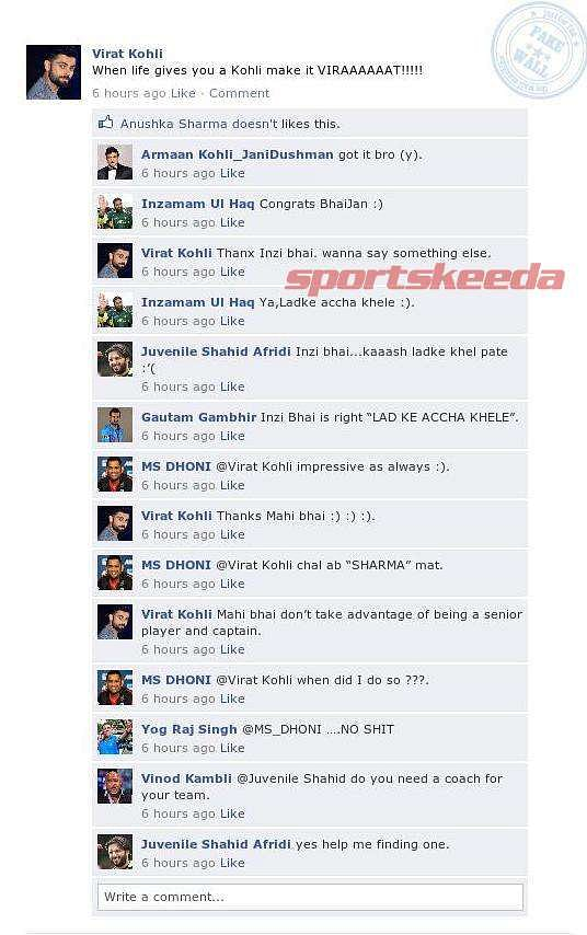 Fake FB Wall: Virat Kohli flaunts his terrific form