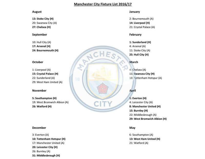 Man City Fixtures: EPL 2016-17 Fixtures Reportedly Leaked, Download PDF Of