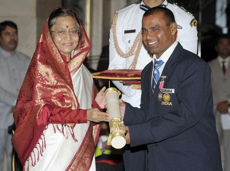 Receiving the Padma Shri