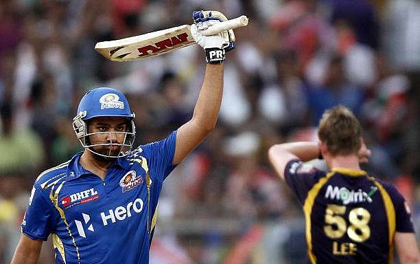 KOLKATA, INDIA MAY 12: Mumbai Indian Player Rohit Sharma acknowledges the crowd after his century during the match between Kolkata Knight Rides and Mumbai Indians at Eden Gardens on May 12, 2012 in Kolkata, India. Mumbai Indians won the match and chose to bat. (Photo by Subhendu Ghosh/Hindustan Times )
