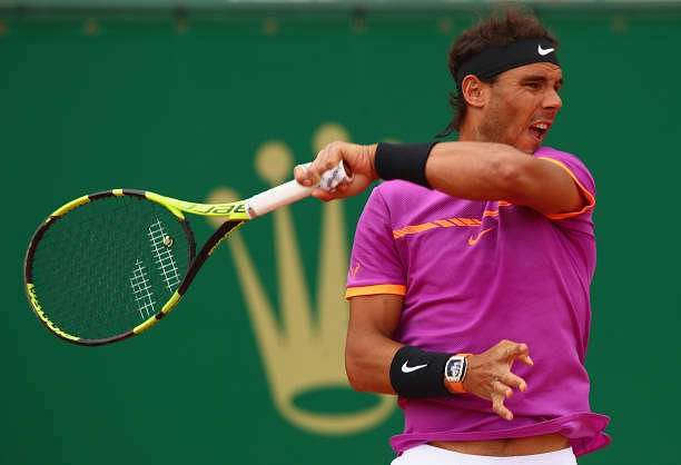 MONTE-CARLO, MONACO - APRIL 23:  Rafael Nadal of Spain in action against Albert Ramos-Vinolas of Spain in the final on day eight of the Monte Carlo Rolex Masters at Monte-Carlo Sporting Club on April 23, 2017 in Monte-Carlo, Monaco.  (Photo by Clive Brunskill/Getty Images)