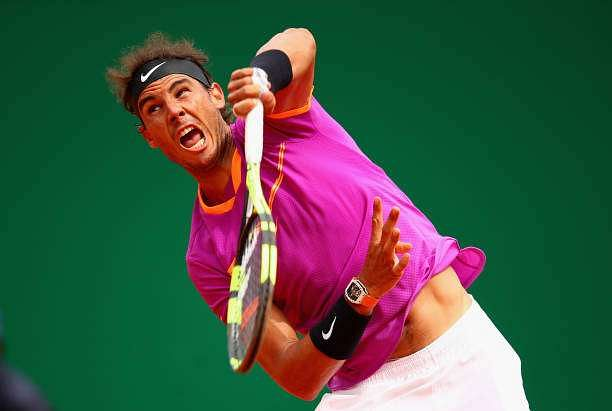 MONTE-CARLO, MONACO - APRIL 23:  Rafael Nadal of Spain serves against Albert Ramos-Vinolas of Spain in the final on day eight of the Monte Carlo Rolex Masters at Monte-Carlo Sporting Club on April 23, 2017 in Monte-Carlo, Monaco.  (Photo by Clive Brunskill/Getty Images)