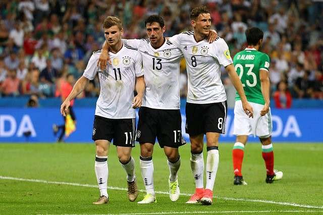Image result for Goretzka quickfire double sets Germany on way to final