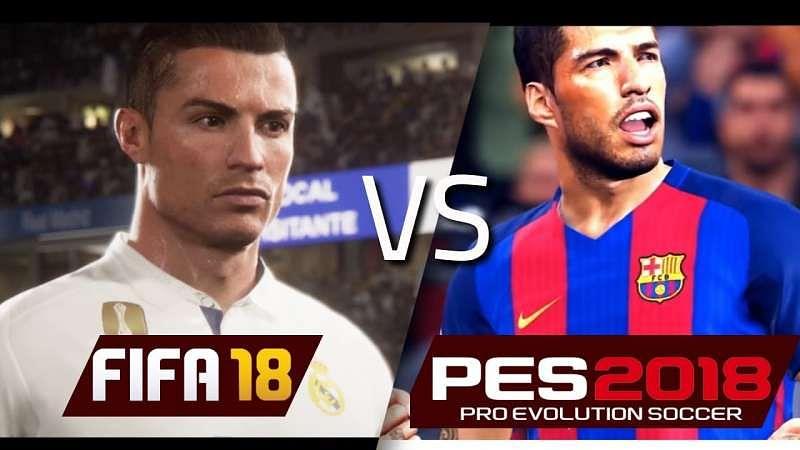 Αποτέλεσμα εικόνας για pes 18  vs fifa 18